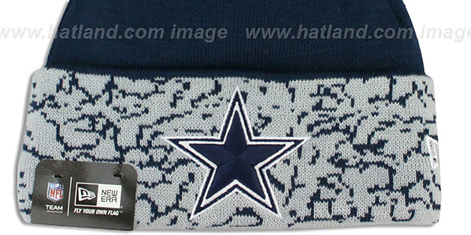Cowboys 'CUFFD CHAOS' Navy-Grey Knit Beanie Hat by New Era
