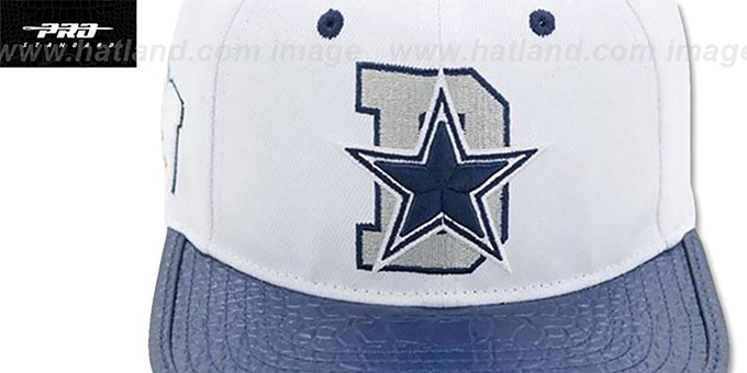 Cowboys 'D-STAR STRAPBACK' White-Navy Hat by Pro Standard