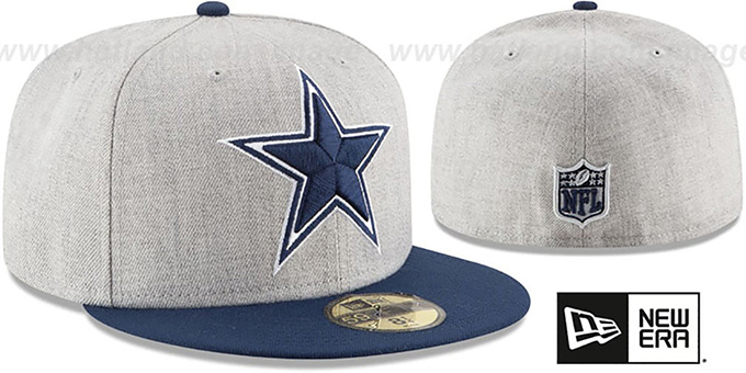72bff0ded01 Dallas Cowboys HEATHER GRAND Grey-Navy Fitted Hat by New Era