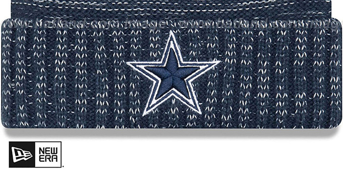 Cowboys 'KICKOFF' Navy-Grey Knit Beanie Hat by New Era