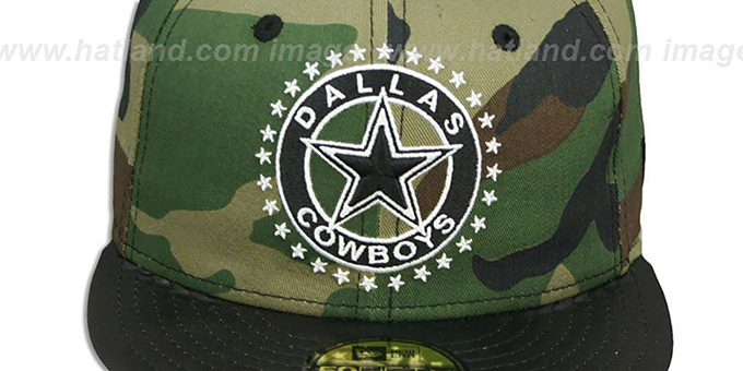 Dallas Cowboys LEATHER TAG Army-Black Fitted Hat by New Era a47f45cb7