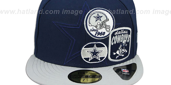Cowboys 'PATCH-BATCHER' Navy-Grey Fitted Hat by New Era