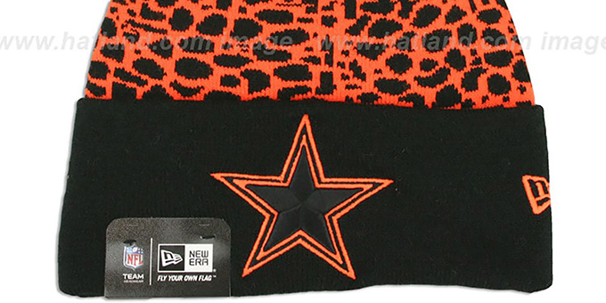 Cowboys 'PEBBLE-POP' Black-Orange Knit Beanie Hat by New Era