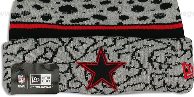 Cowboys 'POLAR PRINT' Black-Grey-Red Knit Beanie Hat by New Era