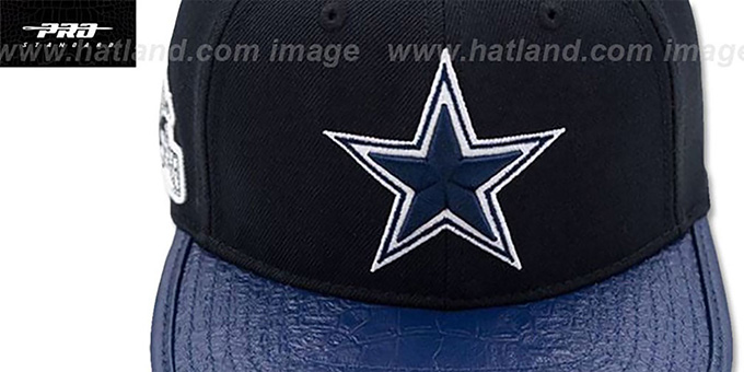 20b06c74dcee8 ... Cowboys  SIDE HELMET STRAPBACK  Black-Navy Hat by Pro Standard ...
