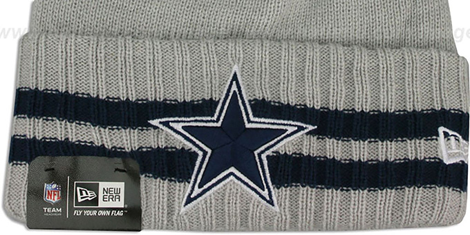 Cowboys 'STRIPED CUFF' Grey Knit Beanie Hat by New Era