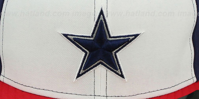 Cowboys 'TRUE-BLUE' White-Navy-Red Fitted Hat by New Era