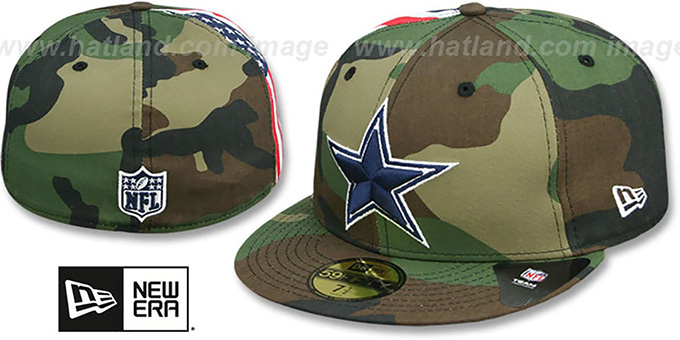 Cowboys 'USA FLAG-SIDE' Army Camo Fitted Hat by New Era