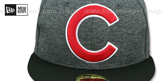 Cubs 'HEATHER-HUGE' Grey-Black Fitted Hat by New Era