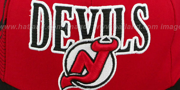Devils 'LASER-STITCH SNAPBACK' Red-Black Hat by Mitchell & Ness