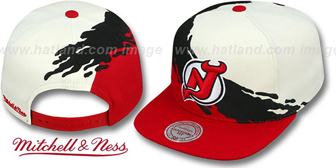 Devils 'PAINTBRUSH SNAPBACK' White-Black-Red Hat by Mitchell & Ness