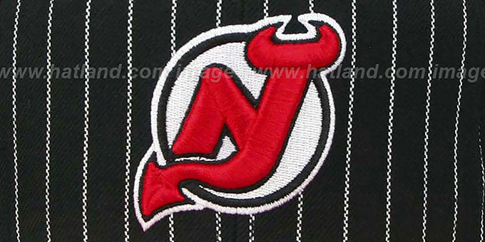 Devils 'PINSTRIPE 2T TEAM-BASIC SNAPBACK' Black-Red Adjustable Hat by Mitchell & Ness
