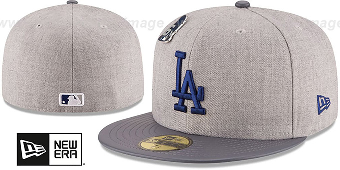 Dodgers 6X 'HEATHER-PIN' Grey Fitted Hat by New Era