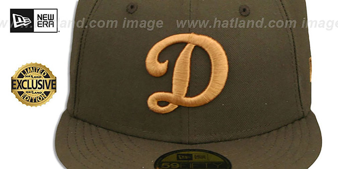 Dodgers 'D TEAM-BASIC' Brown-Wheat Fitted Hat by New Era