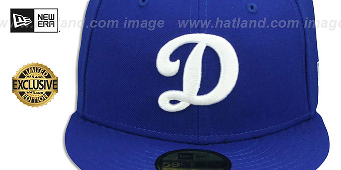 Dodgers 'D TEAM-BASIC' Royal-White Fitted Hat by New Era