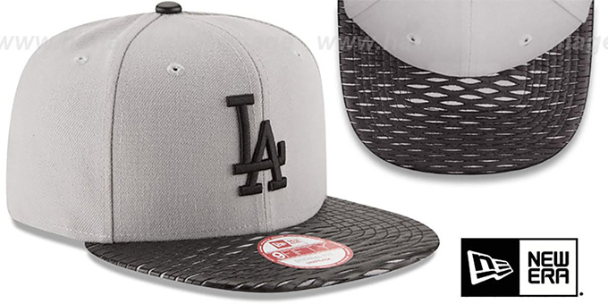 Dodgers 'LEATHER-RIP SNAPBACK' Grey-Black Hat by New Era