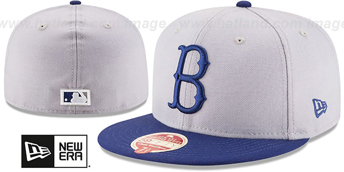 Dodgers 'MLB COOPERSTOWN WOOL-STANDARD' Grey-Royal Fitted Hat by New Era