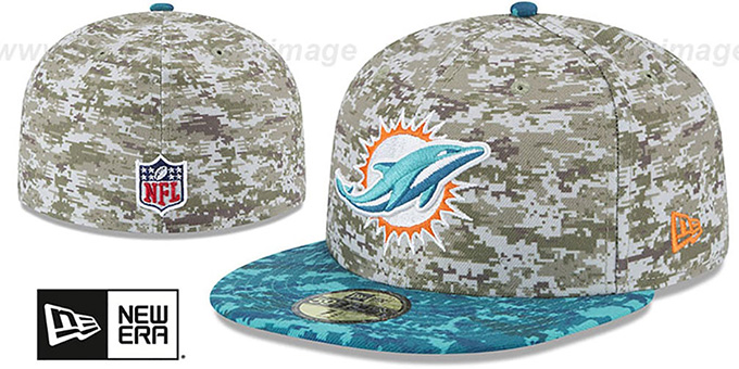 Dolphins '2015 SALUTE-TO-SERVICE' Desert-Aqua Fitted Hat by New Era