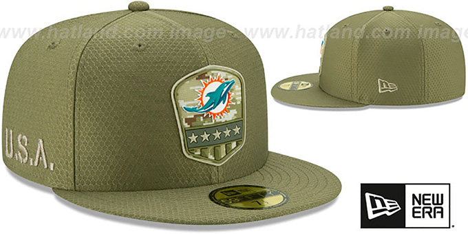 Dolphins '2019 SALUTE-TO-SERVICE' Olive Fitted Hat by New Era