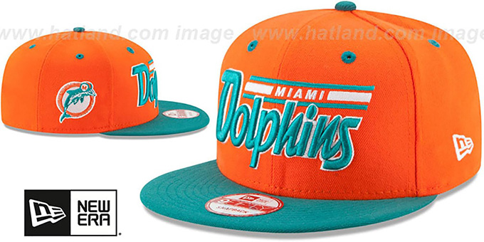 Dolphins '2T RETRO-SCRIPT SNAPBACK' Orange-Aqua Hat by New Era
