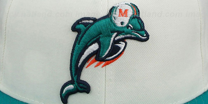 Dolphins 'COACHES-2' White-Aqua Fitted Hat by Reebok