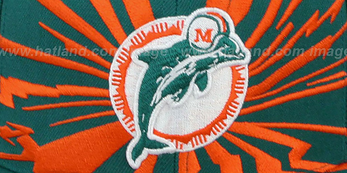Dolphins 'EARTHQUAKE SNAPBACK' Aqua Hat by Mitchell & Ness