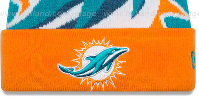 Dolphins 'LOGO WHIZ' Aqua-Orange Knit Beanie Hat by New Era