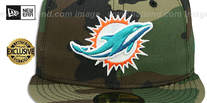 Dolphins 'NFL TEAM-BASIC' Army Camo Fitted Hat by New Era