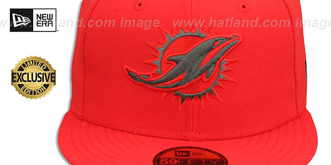 Dolphins 'NFL TEAM-BASIC' Fire Red-Charcoal Fitted Hat by New Era