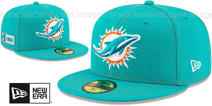 Dolphins 'ONFIELD SIDELINE ROAD' Aqua Fitted Hat by New Era
