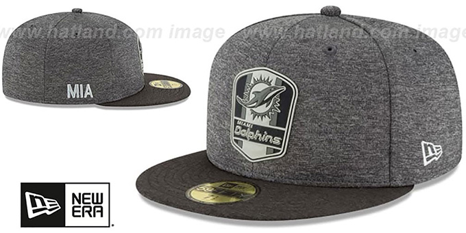Dolphins 'ROAD ONFIELD STADIUM' Charcoal-Black Fitted Hat by New Era