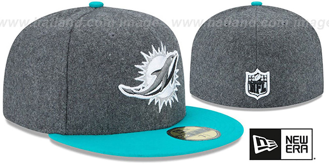 Dolphins 'SHADER MELTON' Grey-Aqua Fitted Hat by New Era