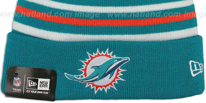 Dolphins 'STRIPEOUT' Knit Beanie Hat by New Era