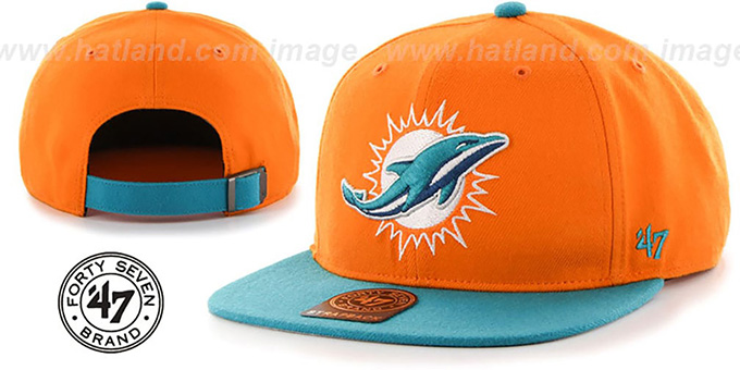 Dolphins 'SUPER-SHOT STRAPBACK' Orange-Aqua Hat by Twins 47 Brand
