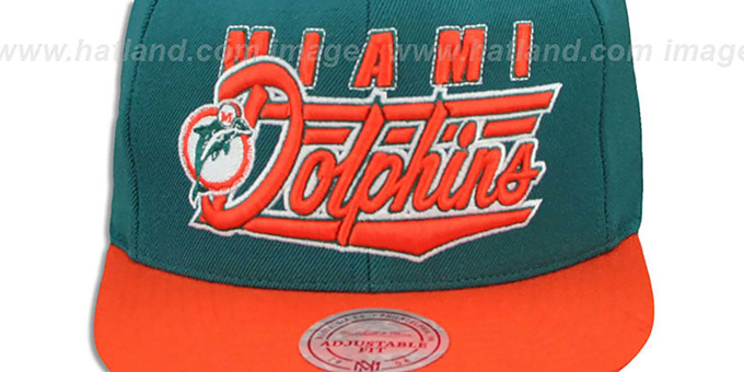Dolphins 'TAILSWEEP SNAPBACK' Aqua-Orange Hat by Mitchell and Ness