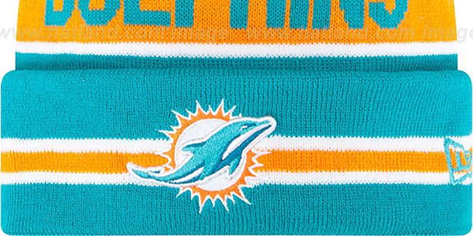 Dolphins 'THE-COACH' Aqua Knit Beanie Hat by New Era