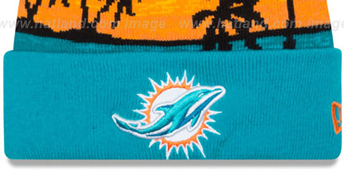 66c51d2a483196 Miami Dolphins WINTER BEACHIN Knit Beanie Hat by New Era