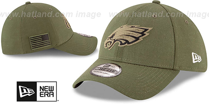 Eagles '2018 SALUTE-TO-SERVICE FLEX' Olive Hat by New Era