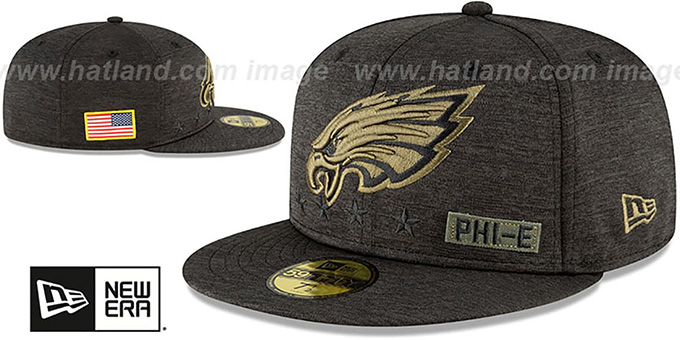 Eagles '2020 SALUTE-TO-SERVICE' ST Black Fitted Hat by New Era