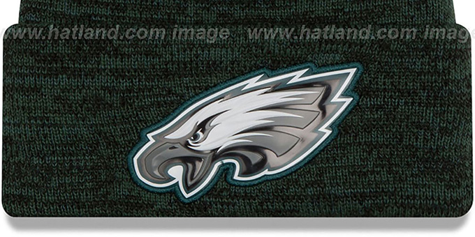 Eagles 'BEVEL' Green-Black Knit Beanie Hat by New Era