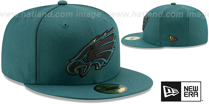 Eagles 'GOLD METALLIC STOPPER' Green Fitted Hat by New Era