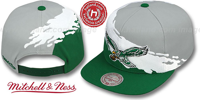 Eagles 'PAINTBRUSH SNAPBACK' Grey-White-Green Hat by Mitchell and Ness