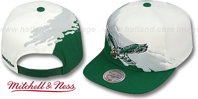 Eagles 'PAINTBRUSH SNAPBACK' White-Grey-Green Hat by Mitchell & Ness
