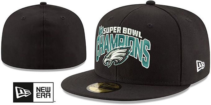 Eagles 'SUPER BOWL LII CHAMPS' Black Fitted Hat by New Era