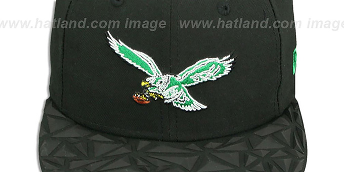 Eagles THROWBACK 'RUBBER MATTE SNAPBACK' Black Hat by New Era