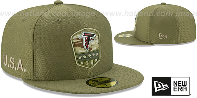 Falcons '2019 SALUTE-TO-SERVICE' Olive Fitted Hat by New Era