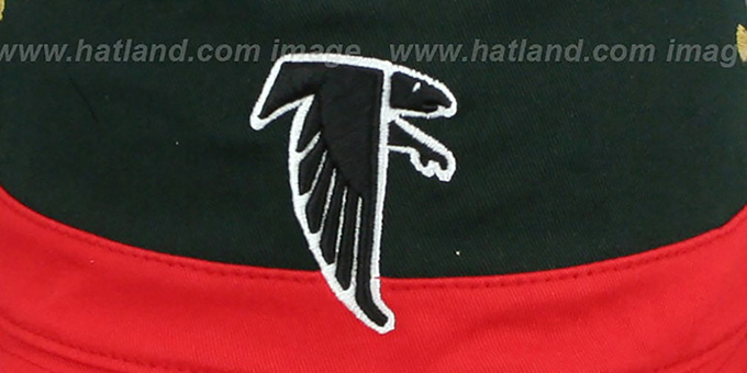 Falcons 'COLOR-BLOCK BUCKET' Black-Red-Tan Hat by Mitchell and Ness