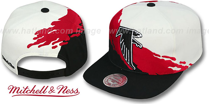 Falcons 'PAINTBRUSH SNAPBACK' White-Red-Black Hat by Mitchell & Ness
