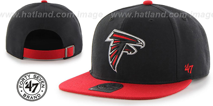 Falcons 'SUPER-SHOT STRAPBACK' Black-Red Hat by Twins 47 Brand