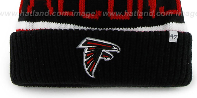 Falcons 'THE-CALGARY' Black-Red Knit Beanie Hat by Twins 47 Brand